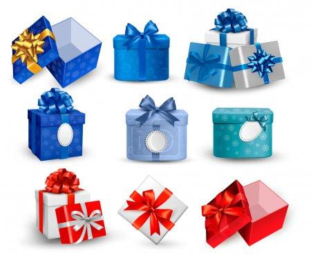 Illustration pour Ensemble de boîtes-cadeaux colorées avec des arcs et des rubans. Illustration vectorielle. - image libre de droit