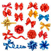 Big collection of color gift bows with ribbons Vector illustrat