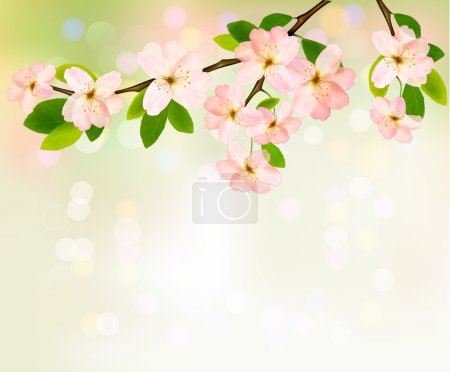 Illustration for Spring background with blossoming tree brunch with spring flowers. Vector illustration. - Royalty Free Image