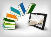 Books flying in a tablet Vector illustration