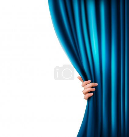 Illustration for Background with blue velvet curtain and hand. Vector illustration. - Royalty Free Image