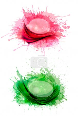 Illustration for Collection of colorful abstract watercolor banners. Vector illustration. - Royalty Free Image