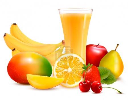 Illustration pour Fruits frais et jus. Vecteur - image libre de droit