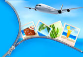 Background with airplane and with photos from holidays Travel concept Vector