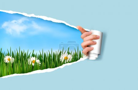 Illustration for Nature background with green grass and sky and ripped paper. Vector illustration. - Royalty Free Image