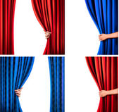 Set of backgrounds with red and blue velvet curtain and hand Ve