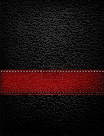 Illustration pour Fond en cuir noir avec bande de cuir rouge. Illustration vectorielle. - image libre de droit
