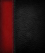 Black leather background with red leather strip Vector illustra