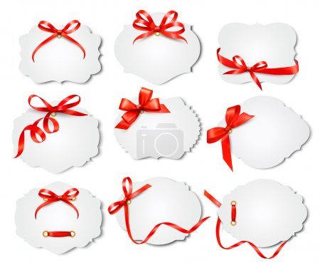 Illustration for Set of beautiful cards with red gift bows with ribbons. Vector - Royalty Free Image
