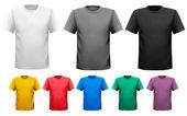černé a bílé a barevné muži trička. Šablona návrhu. vektor