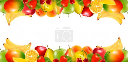 Illustration pour Deux bordures faites de délicieux fruits mûrs. Vecteur . - image libre de droit