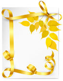 Autumn background with yellow leaves and gold ribbons Back to s