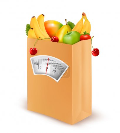 Healthy diet. Fresh food in a paper bag. Vector illustration.