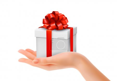Gift box in hand with red bow and ribbons. Vector.