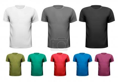 Illustration pour T-shirts homme noir et blanc et couleur. Modèle de conception. Illustration vectorielle - image libre de droit
