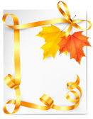 Autumn background with colorful leaves and gold ribbons Back to