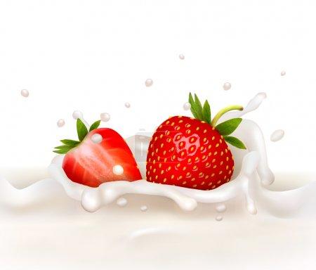 Illustration pour Des fraises rouges tombent dans l'éclaboussure laiteuse. Illustration vectorielle - image libre de droit