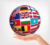 Flags of the world in globe and hand Vector illustration