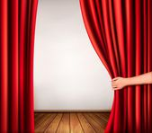 Background with red velvet curtain and hand Vector illustration