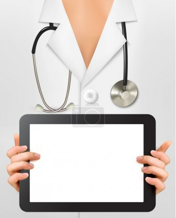Doctor with stethoscope holding blank digital tablet. Vector illustration