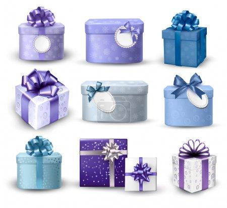 Illustration pour Ensemble de boîtes-cadeaux colorées avec des arcs et des rubans. Illustration vectorielle - image libre de droit