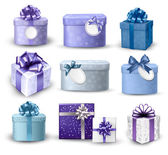 Set of colorful gift boxes with bows and ribbons Vector illustr