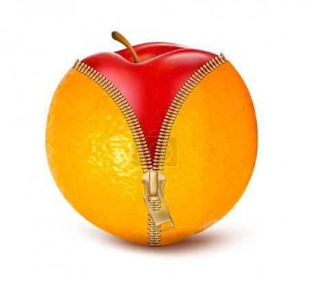 Unzipped orange with red apple. Fruit and diet against cellulite