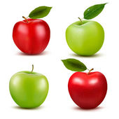 Set of red and green apple fruits with cut and green leaves Vec