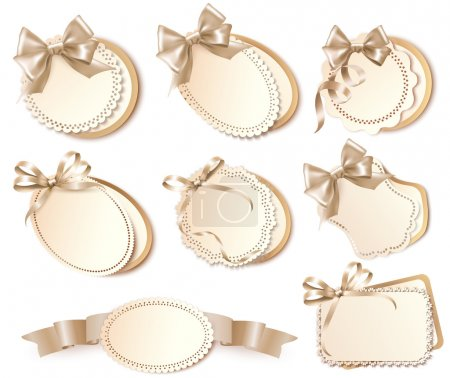 Illustration for Set of beautiful gift cards with bows and ribbons Vector - Royalty Free Image