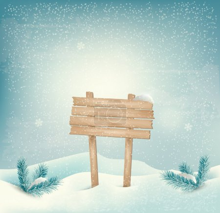 Christmas winter background with Wooden sign and landscape. Vect