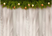 Christmas decoration on wooden background. Vector illustration.