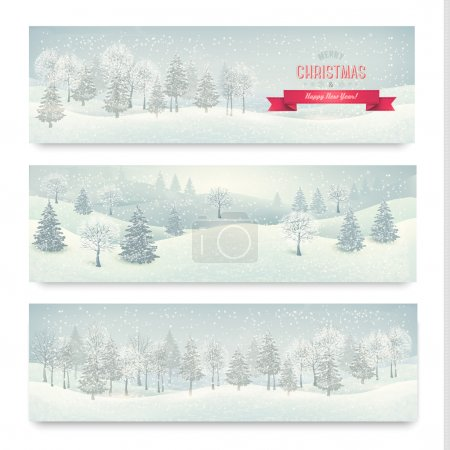 Illustration for Christmas winter landscape banners Vector - Royalty Free Image
