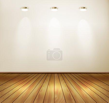 Wall with spotlights and wooden floor. Showroom concept. Vector