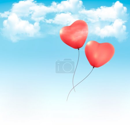 Illustration for Valentine heart-shaped baloons in a blue sky with clouds. Vector background - Royalty Free Image