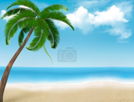 Palm tree holiday background. Vector.
