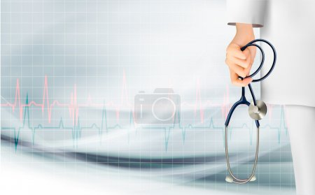 Illustration for Medical background with hand holding a stethoscope. Vector. - Royalty Free Image