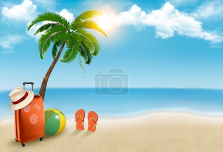 Photo for Vacation background. Beach with palm tree, suitcase and flip flops. Vector. - Royalty Free Image