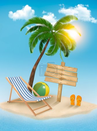 Illustration for Travel background with tropical island. Summer vacation concept background. Vector. - Royalty Free Image