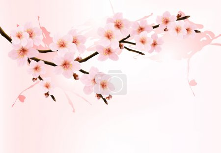 Illustration for Nature background with blossoming sakura branch. Vector illustration. - Royalty Free Image