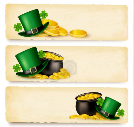 Three Saint Patrick's Day banners with lover leave...