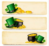 Three Saint Patrick's Day banners with lover leaves green hat a