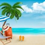 Beach with palm trees and beach chair. Summer vaca...