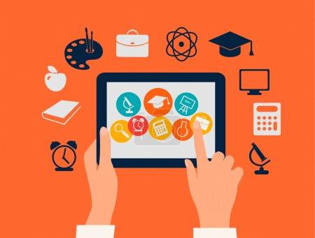 Illustration pour Concept d'apprentissage en ligne. Mains touchant une tablette avec des icônes d'éducation. Vecteur . - image libre de droit