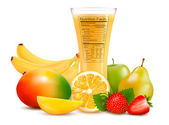 Fresh fruit and a glass of juice with a nutrition facts label V