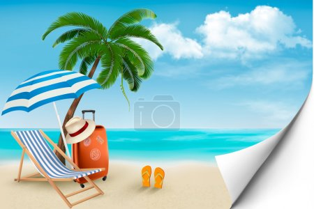 Illustration for Beach with palm trees and beach chair. Summer vacation concept background. Vector. - Royalty Free Image