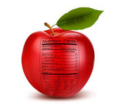 Apple with nutrition facts label Concept of healthy food Vecto