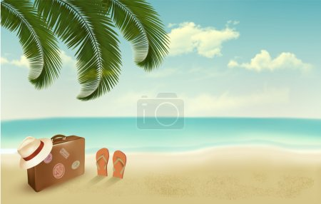 Retro summer vacation background. Vector...