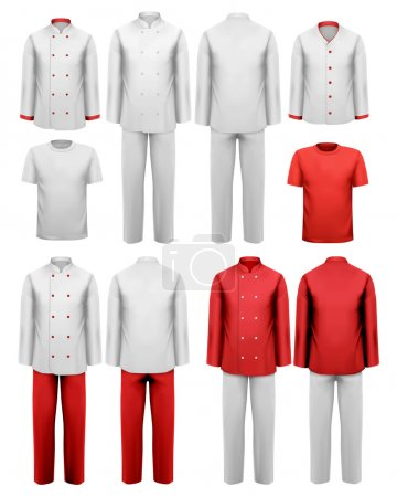 The set of various work clothes. Vector illustration.