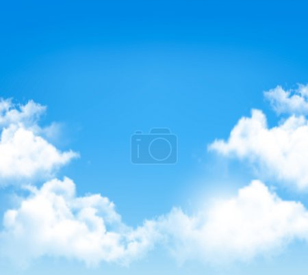 Illustration for Background with blue sky and clouds. Vector. - Royalty Free Image