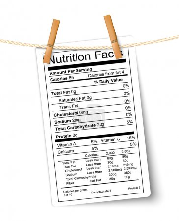 Illustration for Nutrition facts label hanging on a rope. Vector. - Royalty Free Image